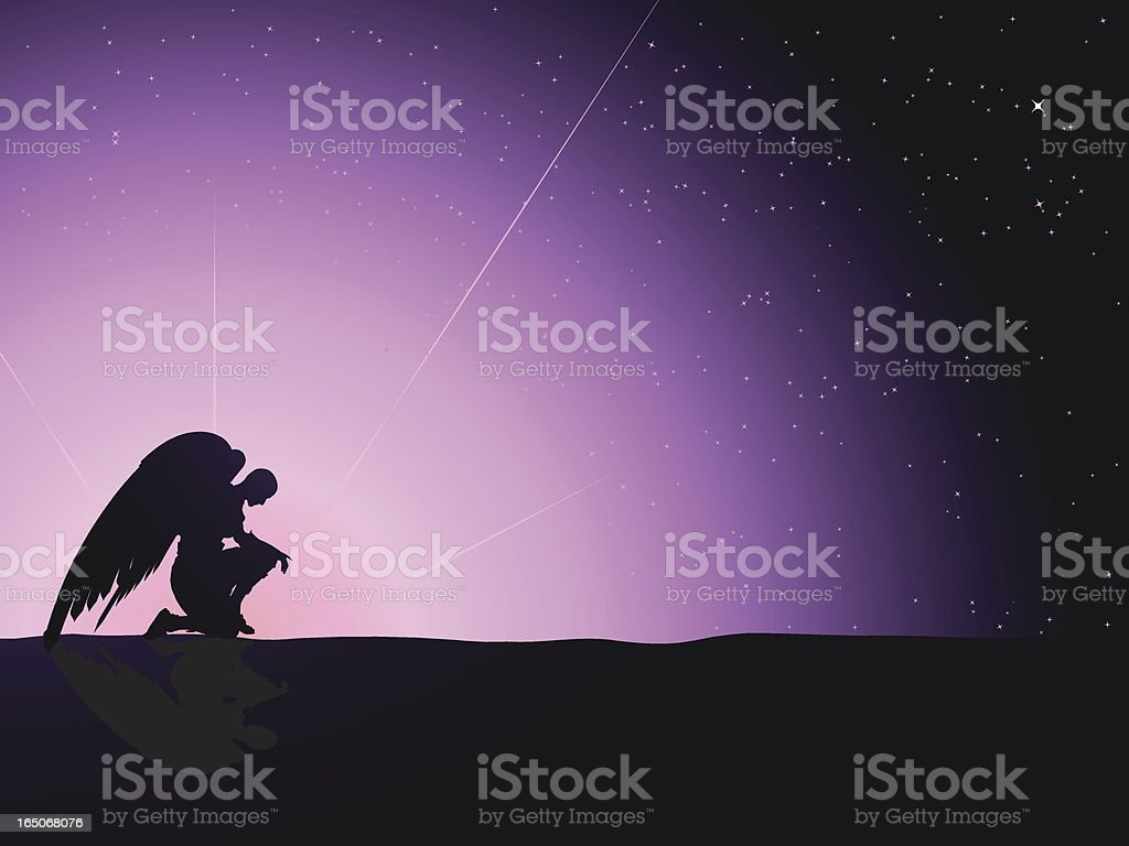 Angel Sunset royalty-free stock vector art