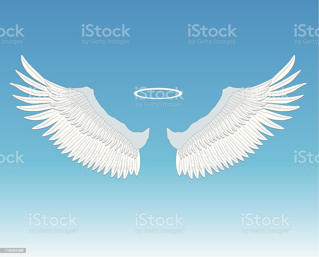 Angel Wings and Halo vector art illustration