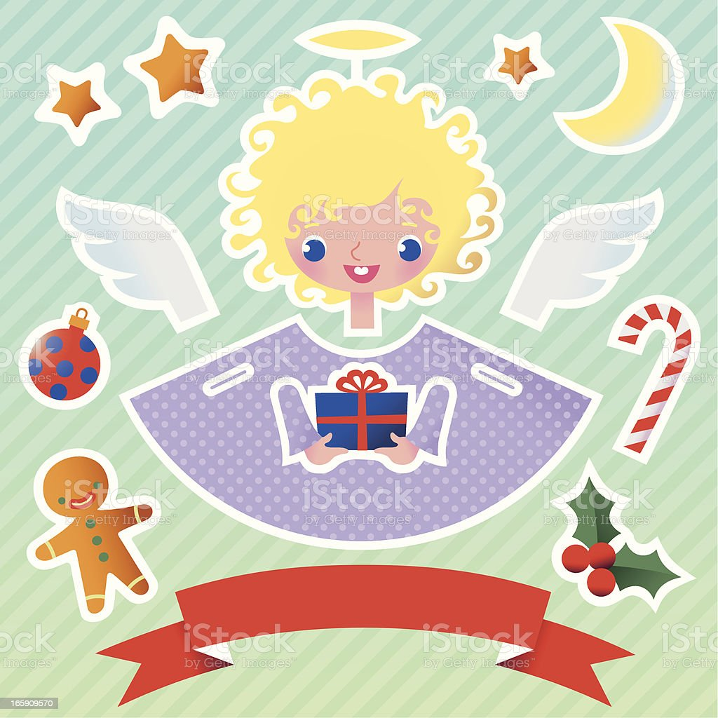 Angel with Christmas Attributes. vector art illustration
