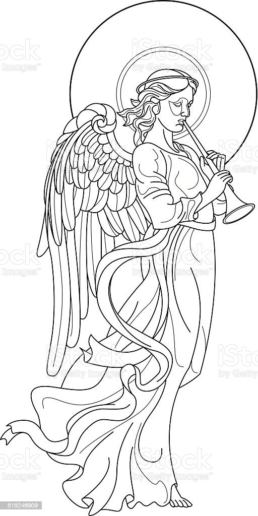 Angel with flute drawing on white background vector art illustration