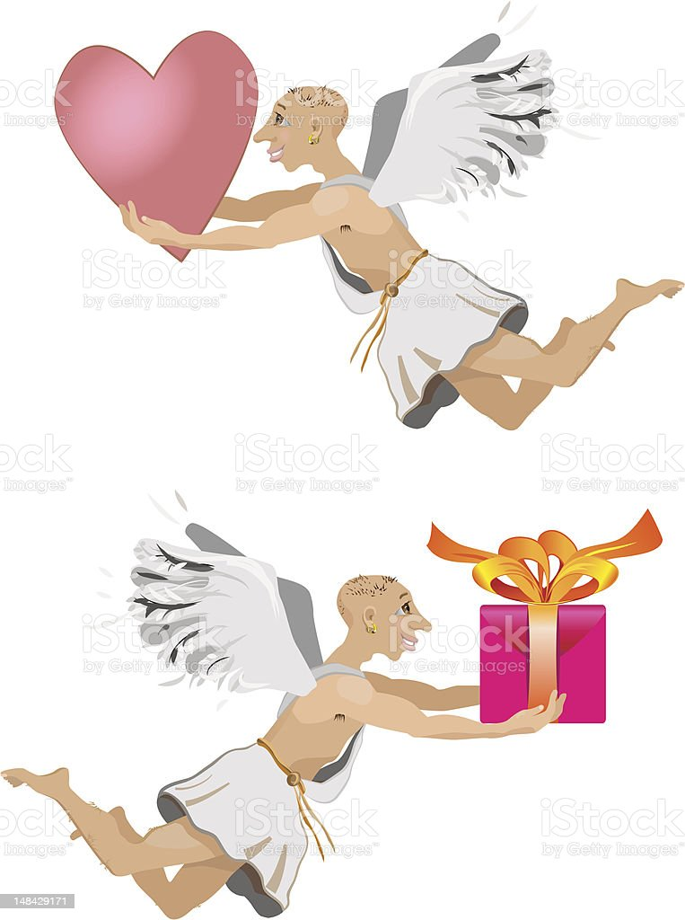 angel with heart royalty-free stock vector art