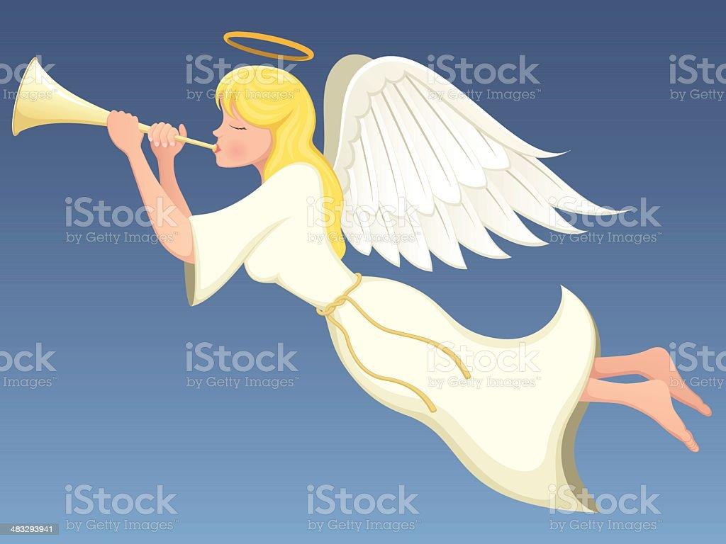 Angel With Horn vector art illustration