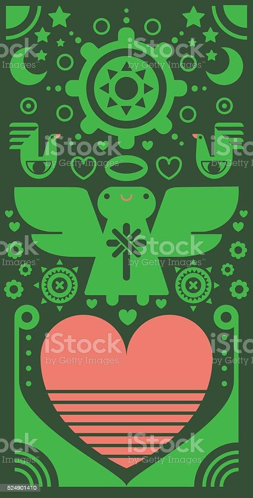 Angel with Sun & Heart vector art illustration