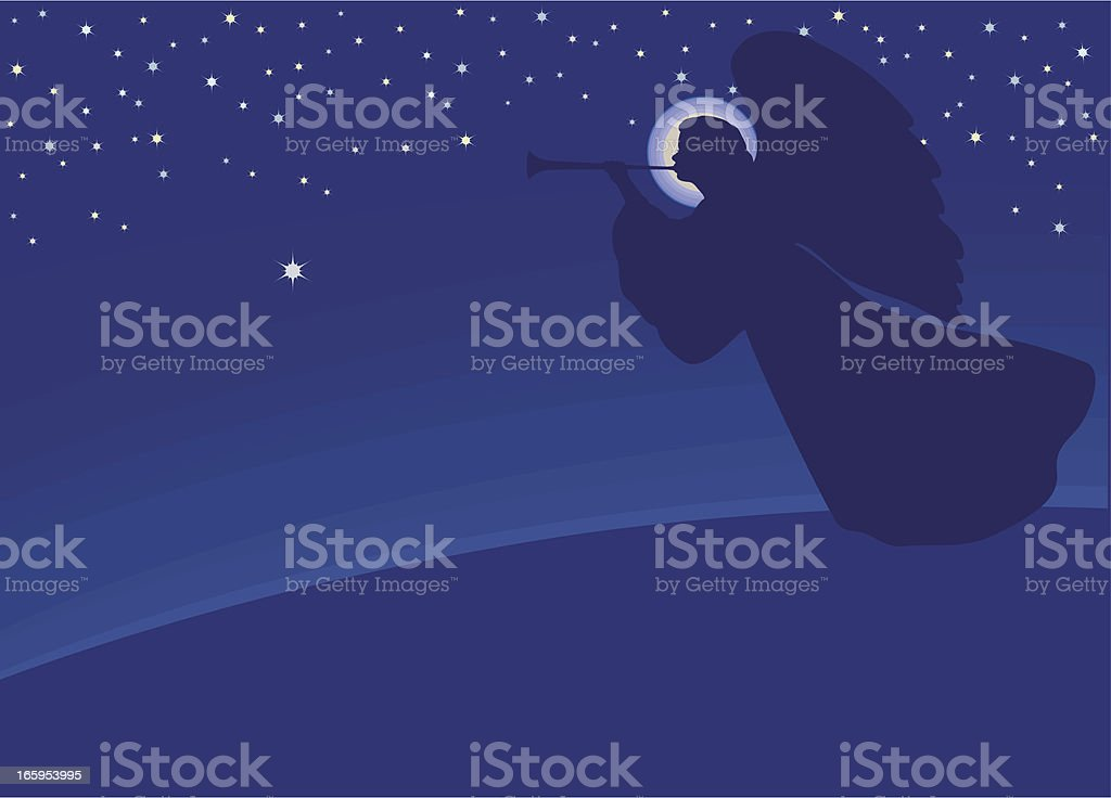 Angel with trumpet royalty-free stock vector art