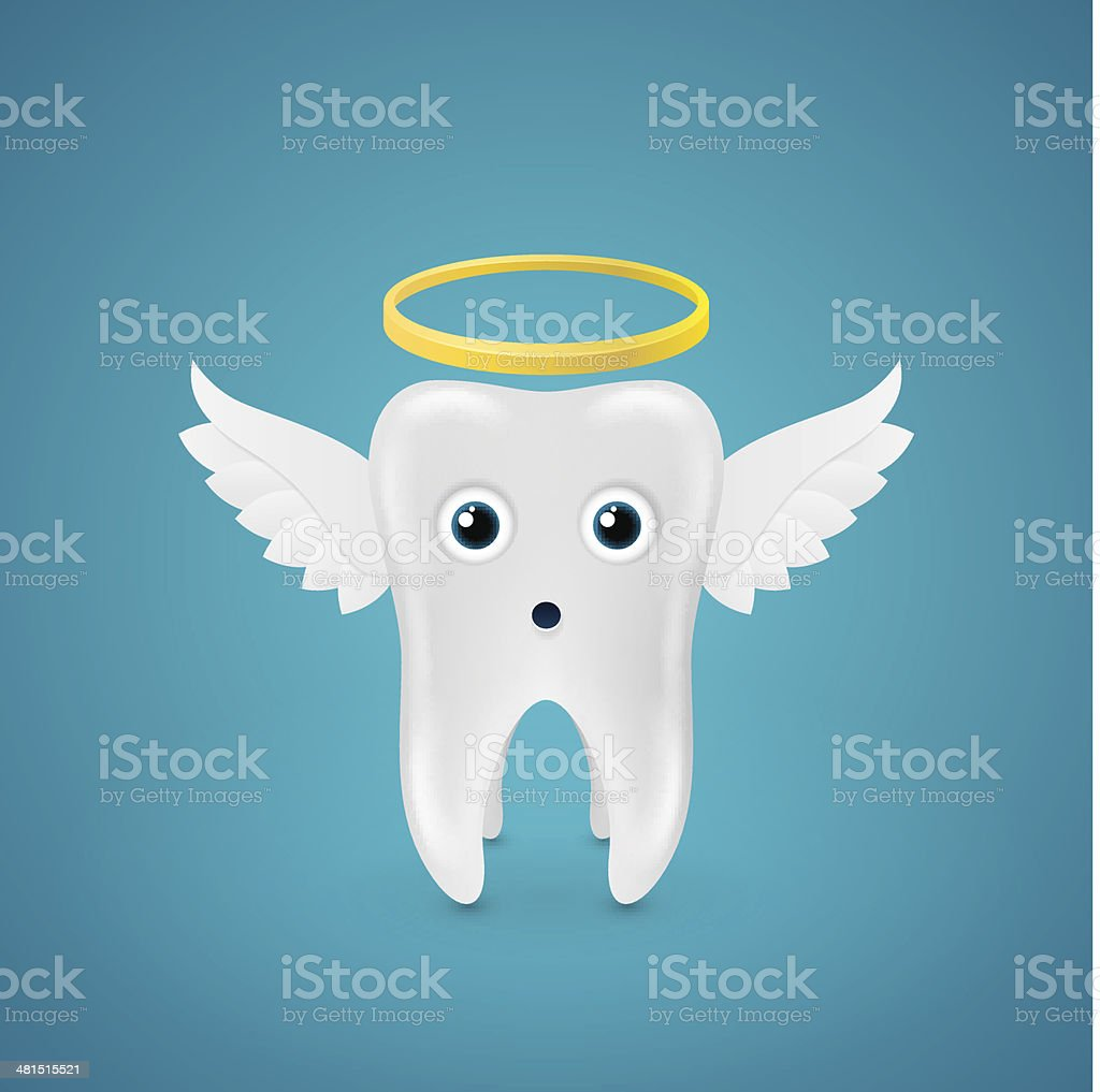 Angelic tooth with wings and a halo vector art illustration