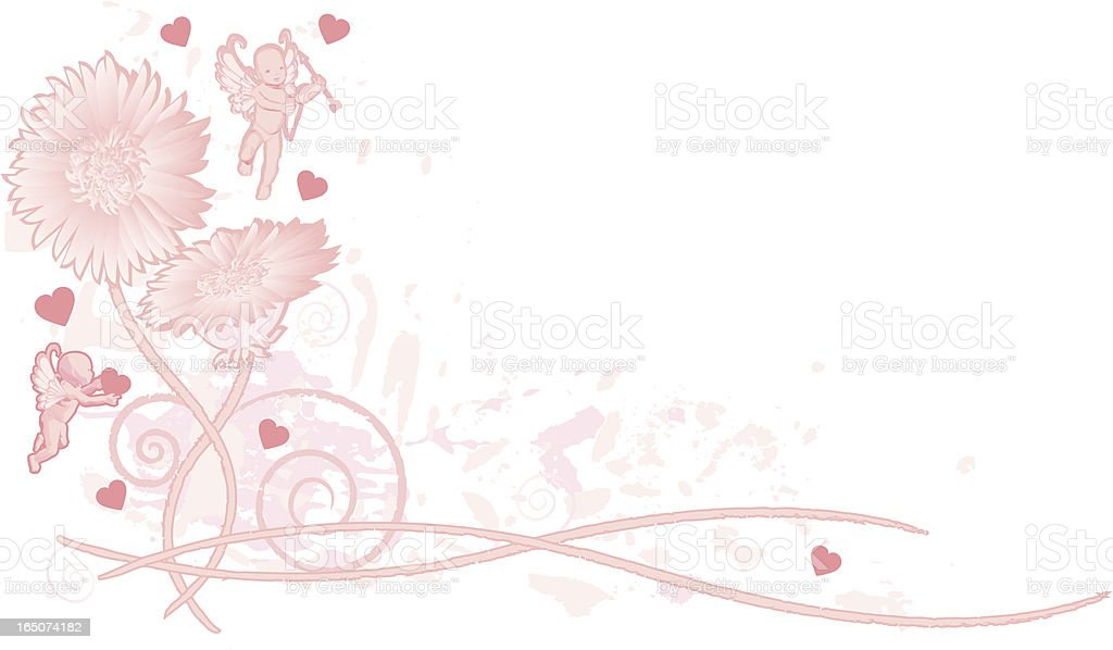 Angels and Flowers Cornerpiece royalty-free stock vector art