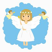 Angels and little angels blowing trumpet illustration
