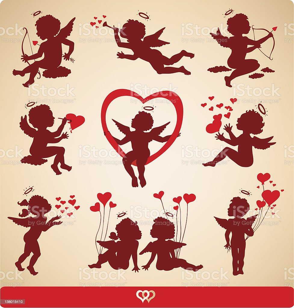 Angels. Collection of silhouettes. royalty-free stock vector art