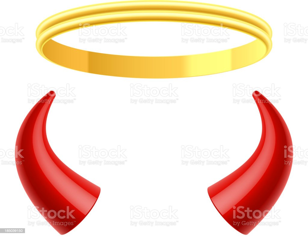 Angel's halo and devil's horns vector art illustration