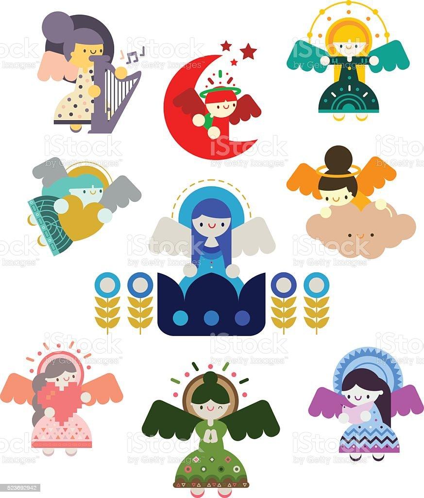Angels Set vector art illustration
