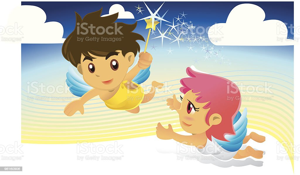 Angels With A Magic Wand, Flying In The Sky vector art illustration
