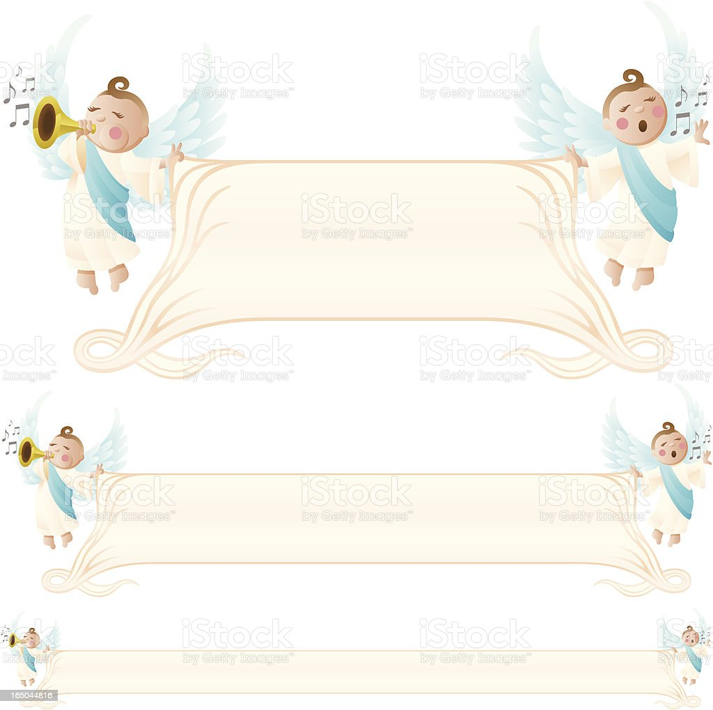 Angels with Banner royalty-free stock vector art