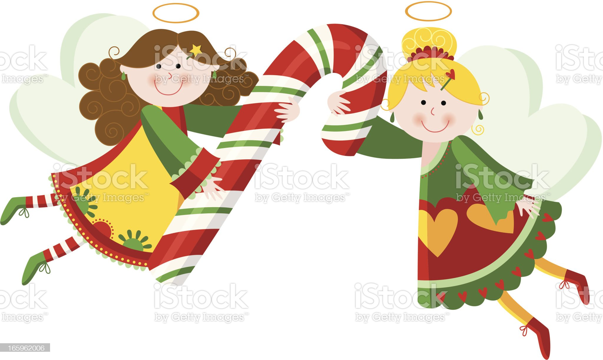 Angels with candy cane 1 royalty-free stock vector art