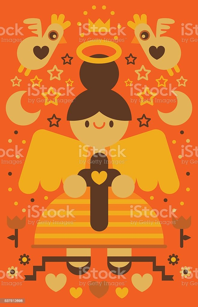 Angels with Cross vector art illustration
