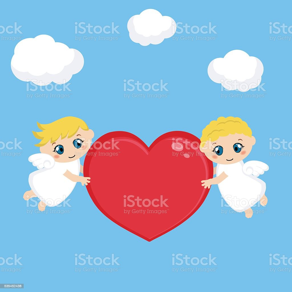 Angels with red heart vector art illustration