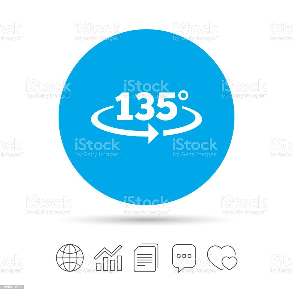Angle 135 degrees sign icon. Geometry math symbol. vector art illustration