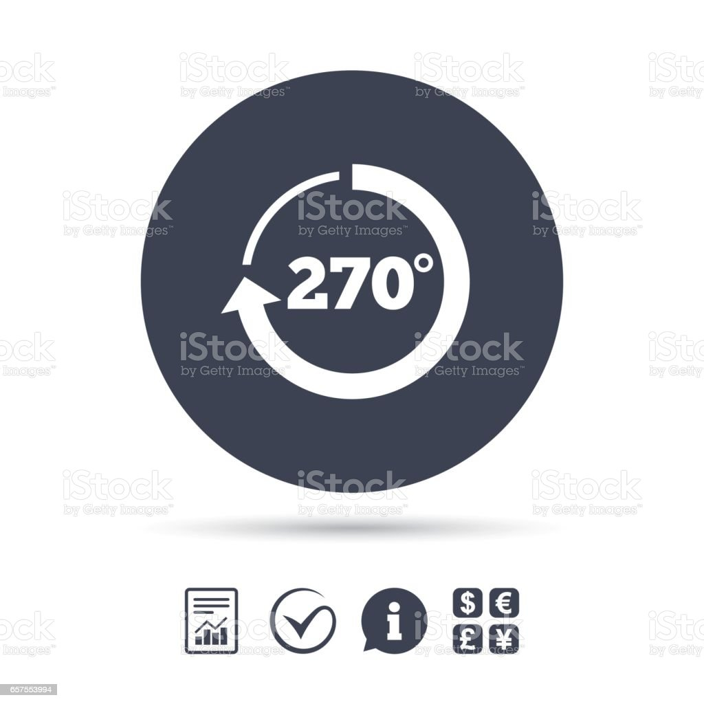 Angle 270 degrees sign icon. Geometry math symbol. vector art illustration