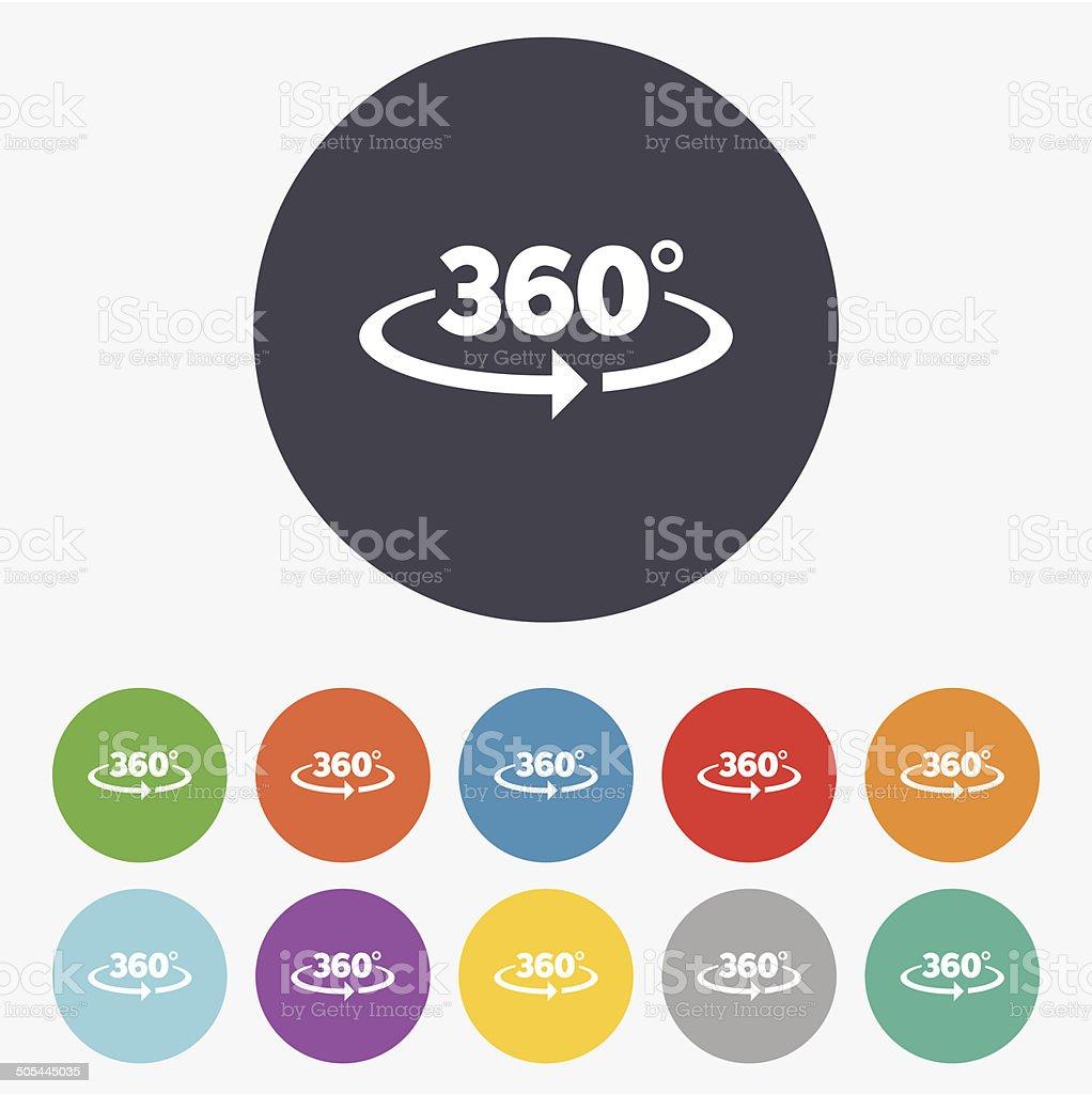 Angle 360 degrees sign icon. Geometry math symbol vector art illustration