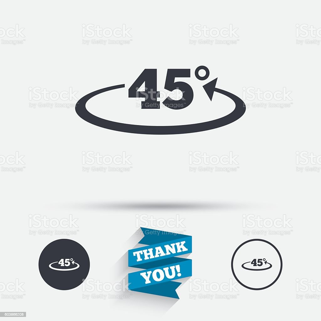 Angle 45 degrees sign icon. Geometry math symbol vector art illustration