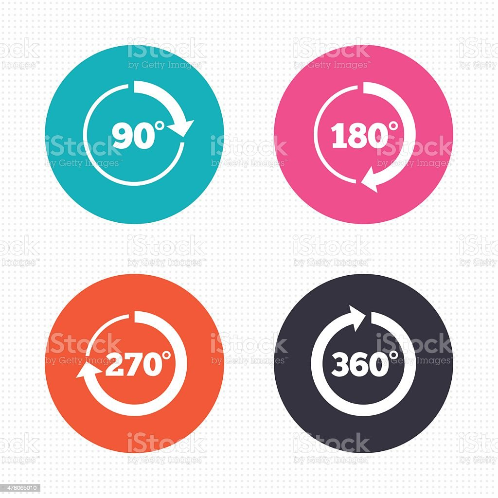 Angle degrees circle icons. Geometry math signs vector art illustration