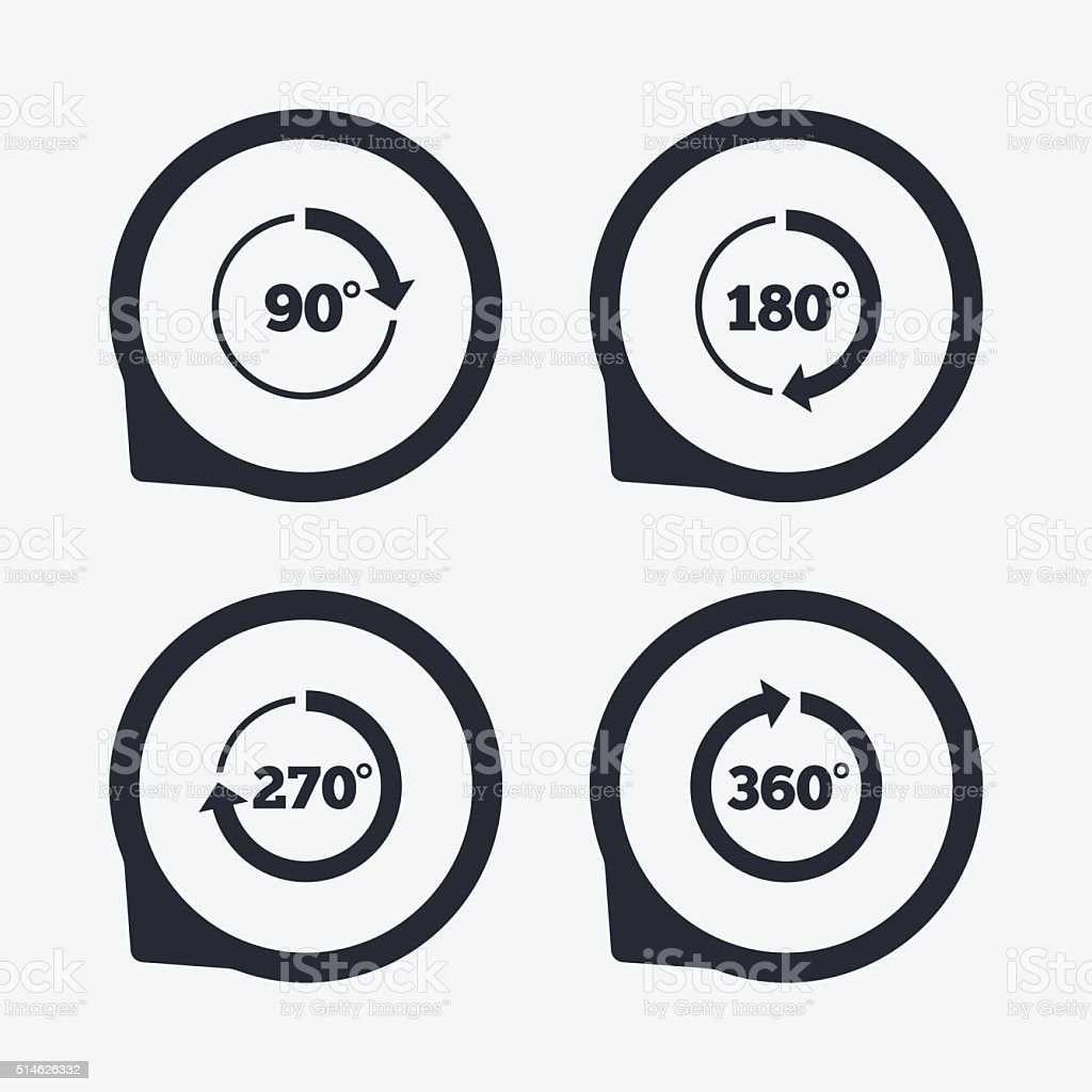 Angle degrees circle icons. Geometry math signs. vector art illustration