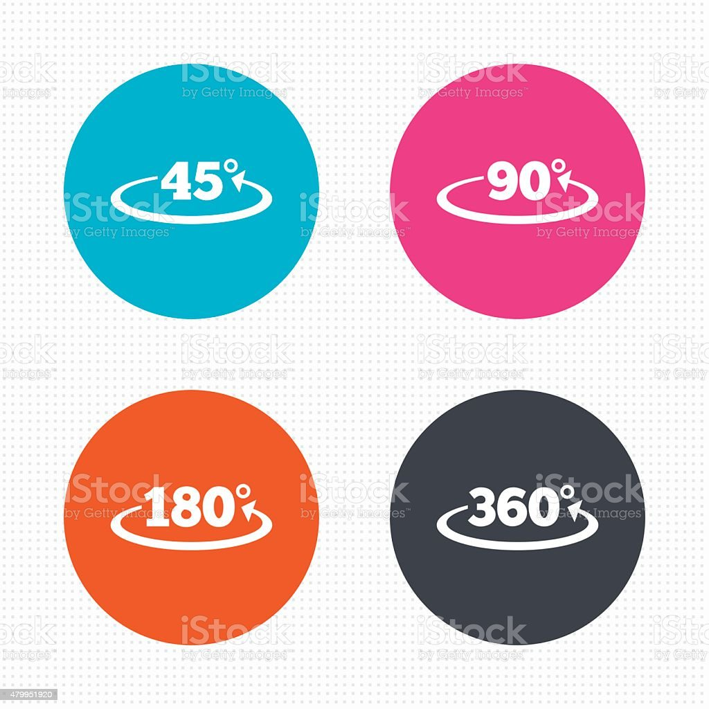 Angle degrees icons. Geometry math signs vector art illustration