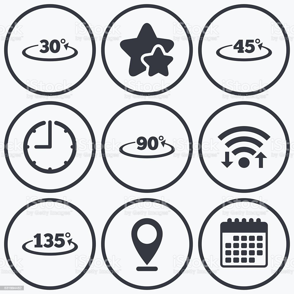 Angle degrees icons. Geometry math signs. vector art illustration