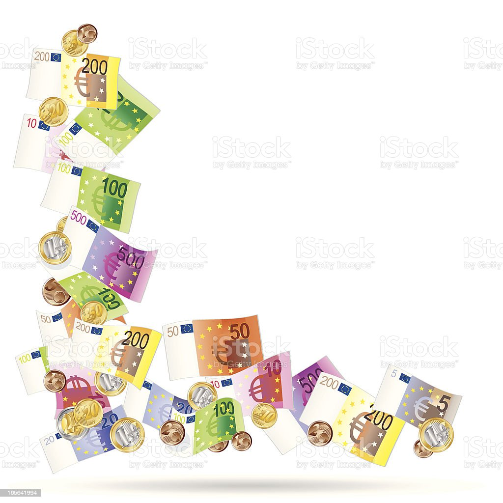 angle made of euro notes vector art illustration