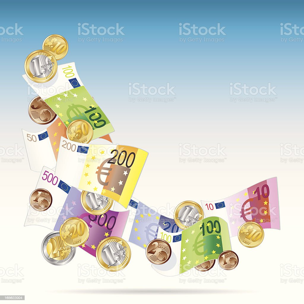 angle of Euro notes vector art illustration