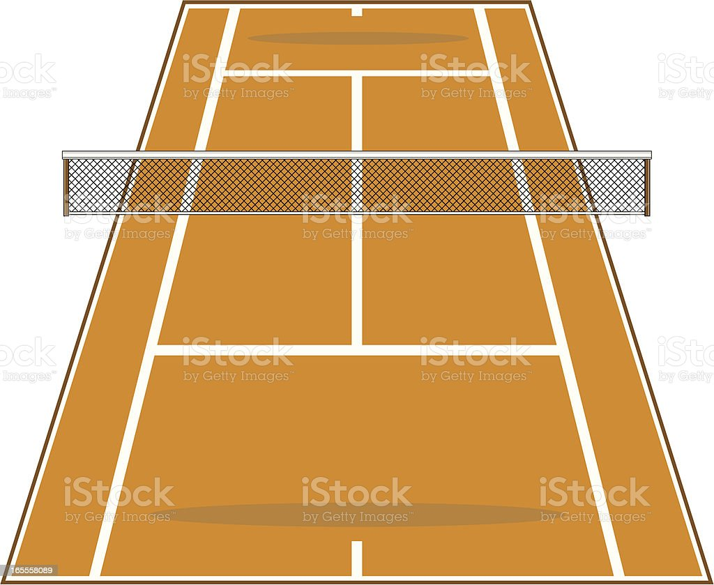 Angled Clay Tennis Court with Net vector art illustration