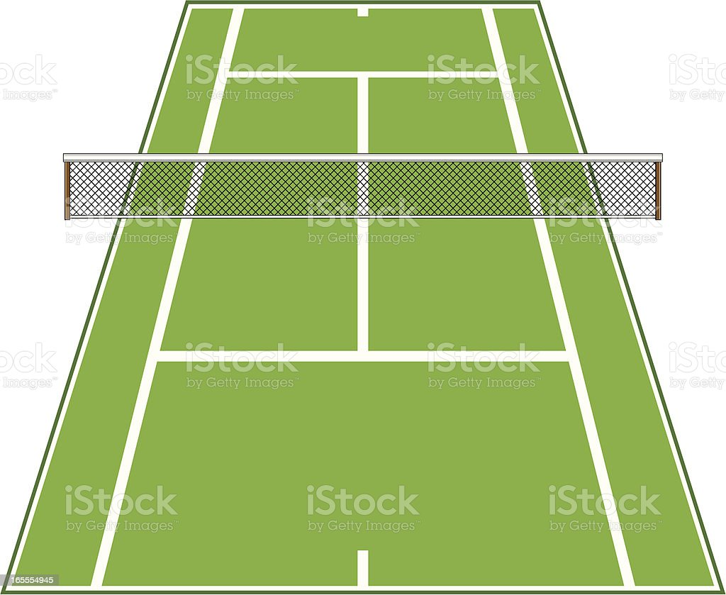Angled Tennis Court with Net. vector art illustration