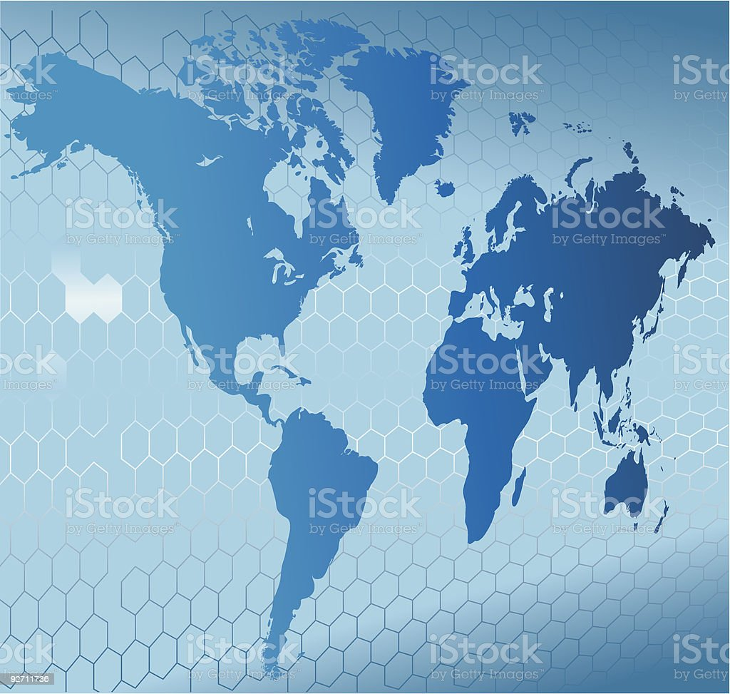 Angled view of map of the world in blue over honeycomb shape royalty-free stock vector art