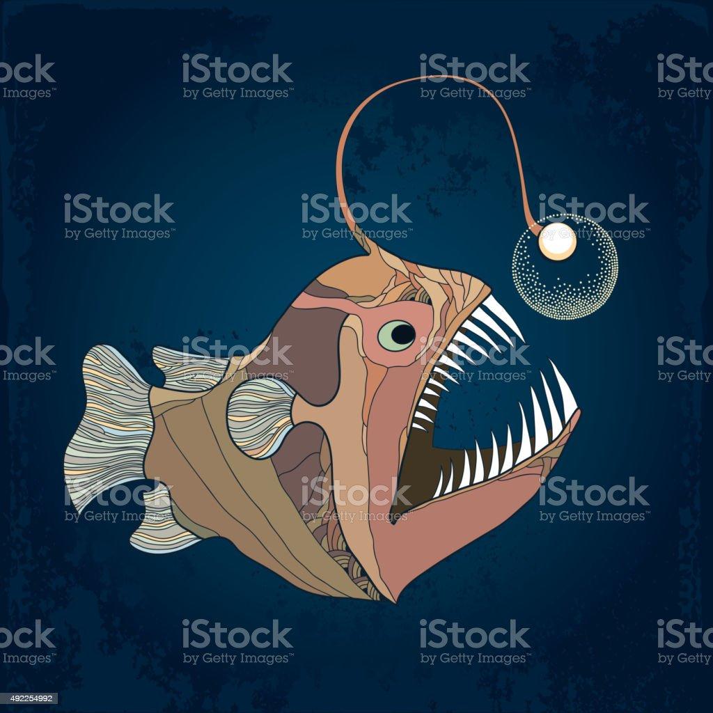 Angler fish or monkfish with lantern on the dark background vector art illustration