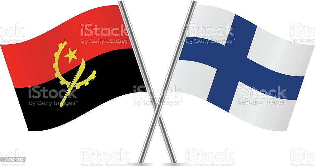 Angola and Finland flags. Vector. vector art illustration