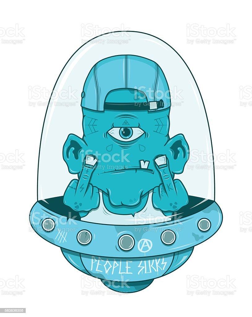 angry alien in flying saucer vector art illustration