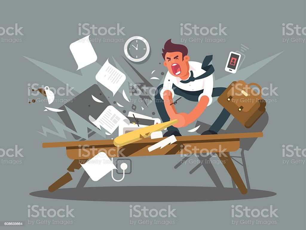 Angry and exasperated employee vector art illustration