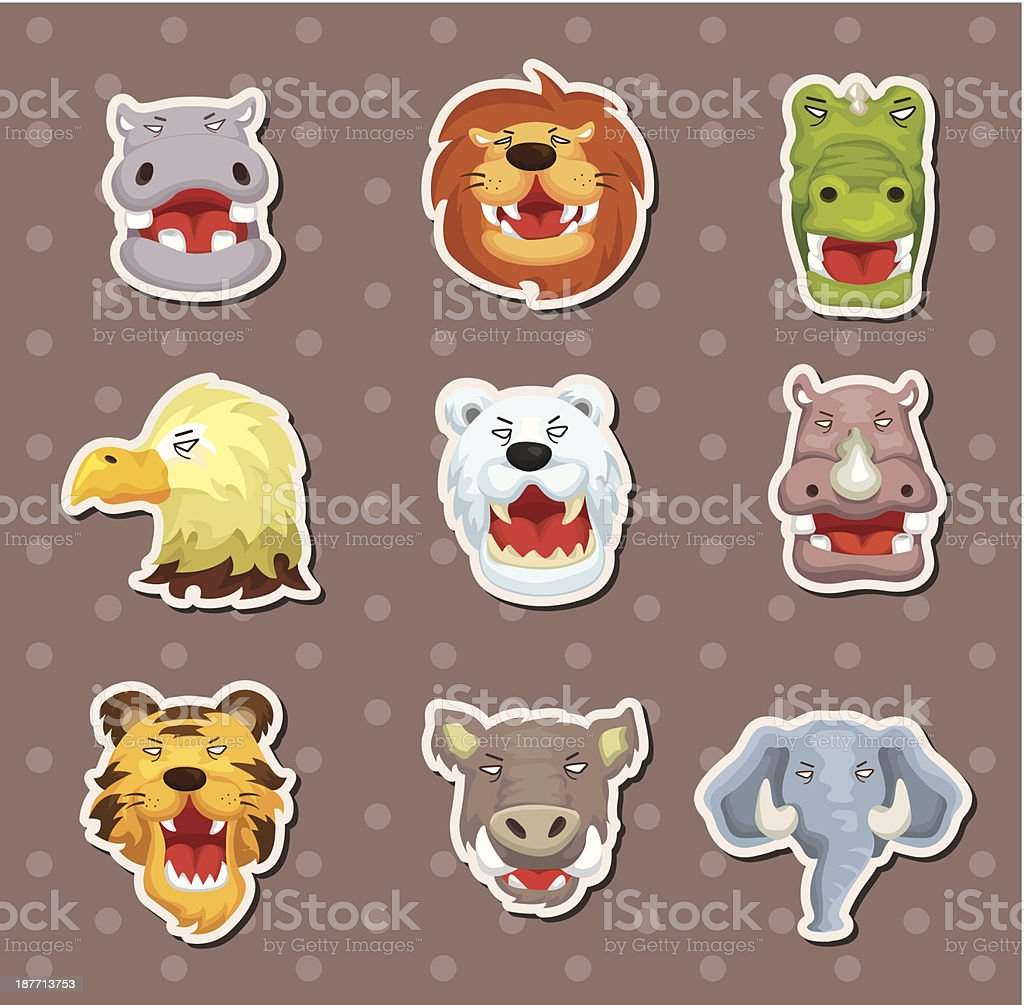 angry animal face stickers royalty-free stock vector art