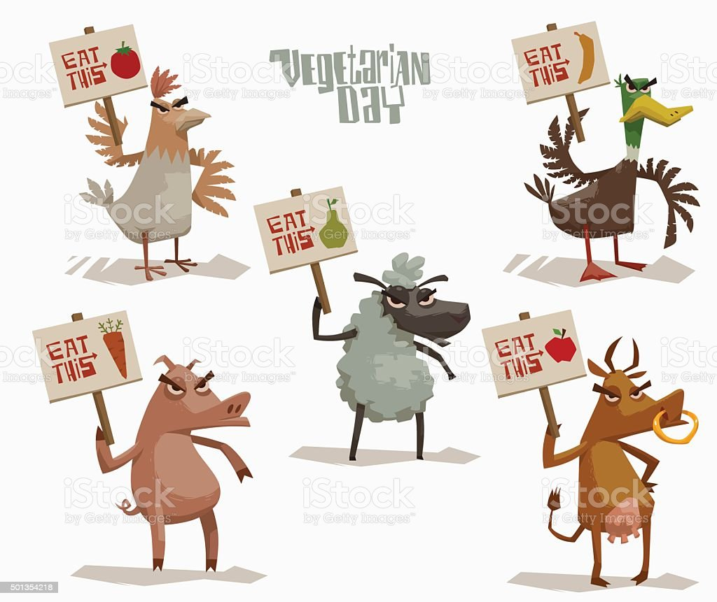Angry Animals holding posters in support of vegetarianism set vector art illustration