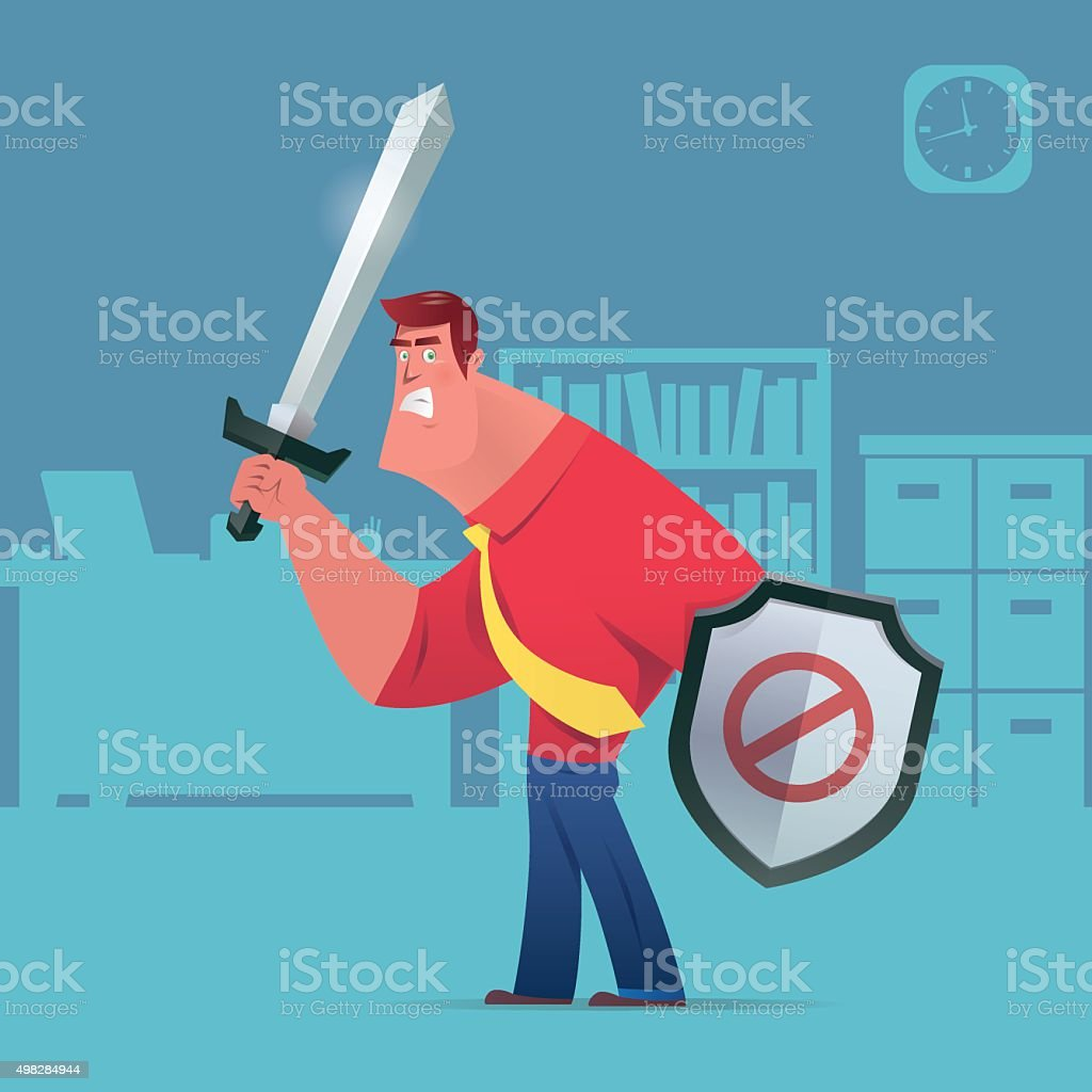 angry armed businessman vector art illustration
