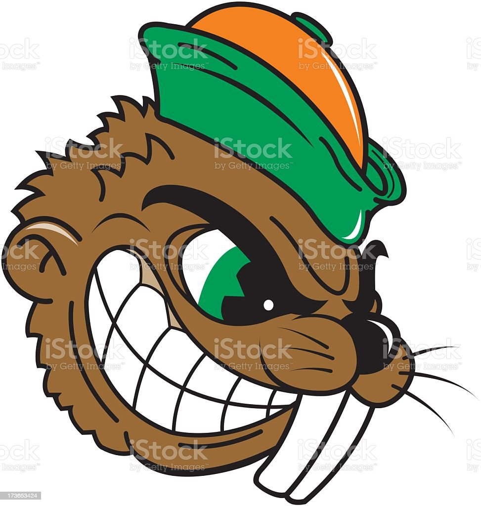 Angry Beaver With Hat royalty-free stock vector art