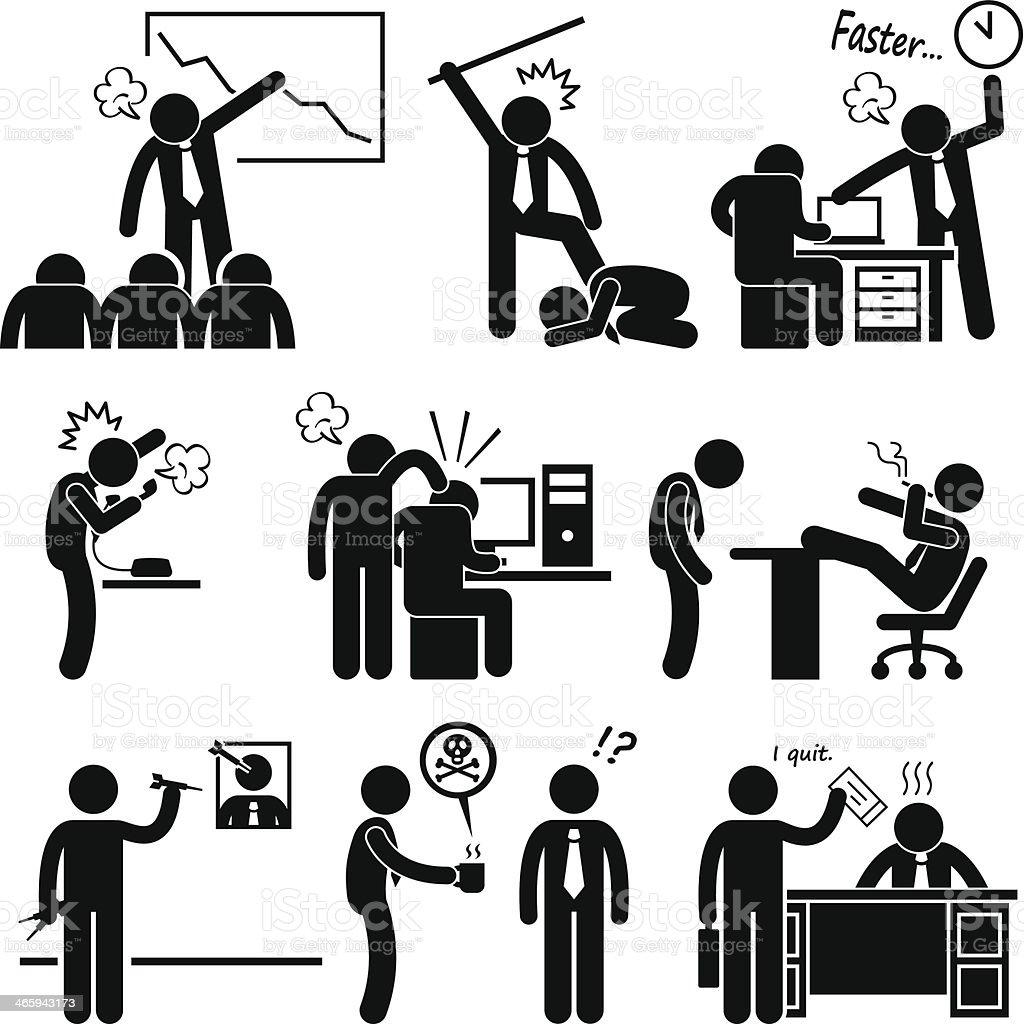 Angry Boss Abusing Employee vector art illustration