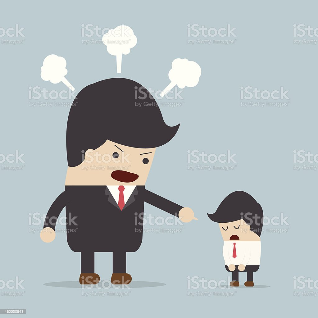 Angry boss and employee vector art illustration