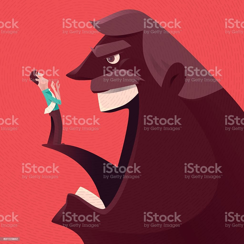 angry boss blaming businessman vector art illustration