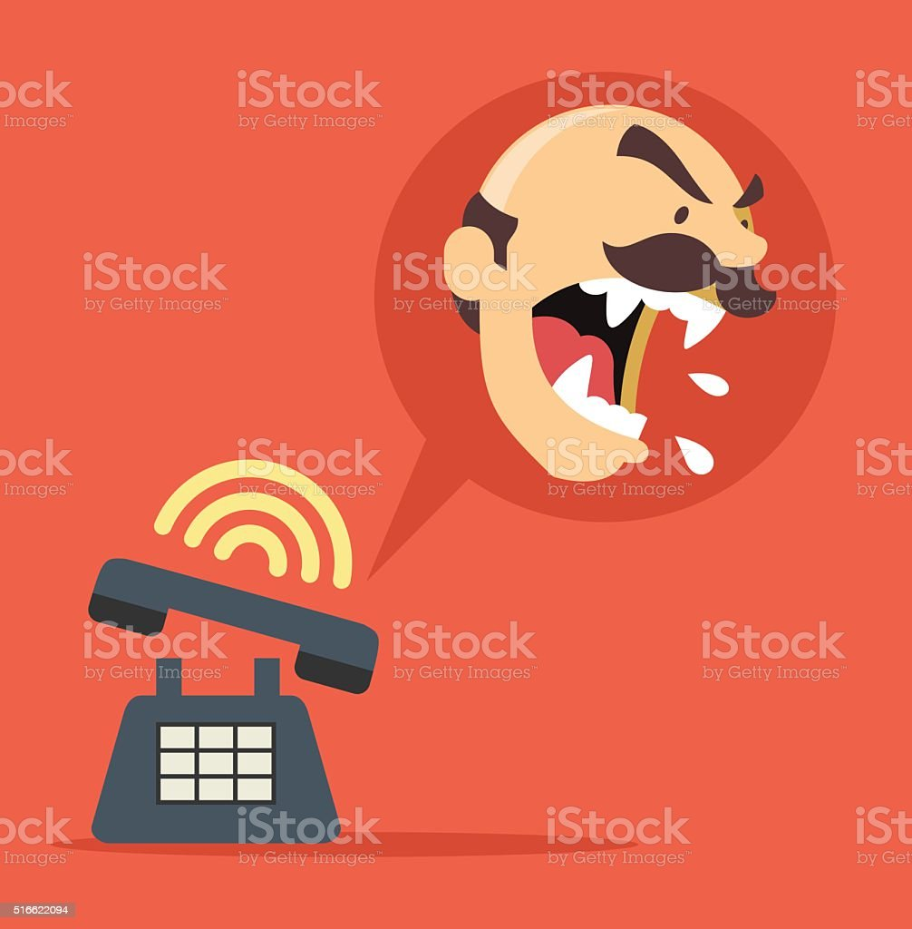 Angry boss call. Vector flat illustration vector art illustration