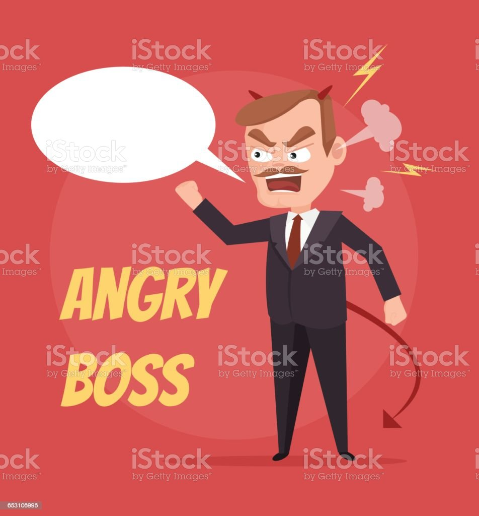 Angry boss character scream. Speech bubble vector art illustration