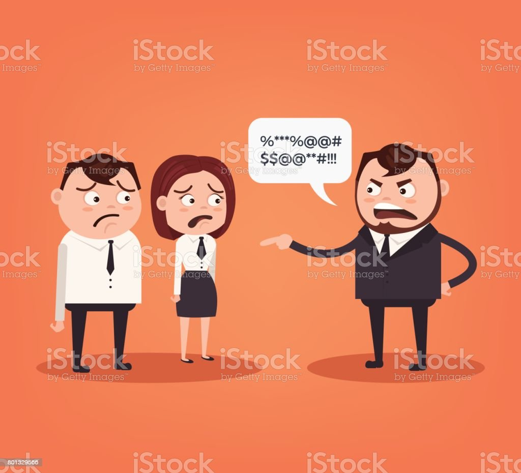 Angry boss character yelling at employee characters vector art illustration