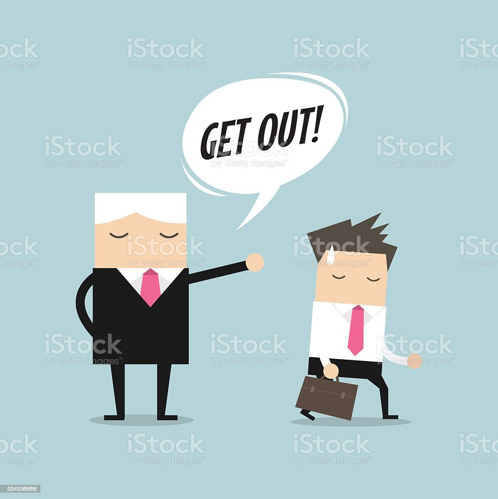 Angry boss firing employee. Layoff concept vector art illustration