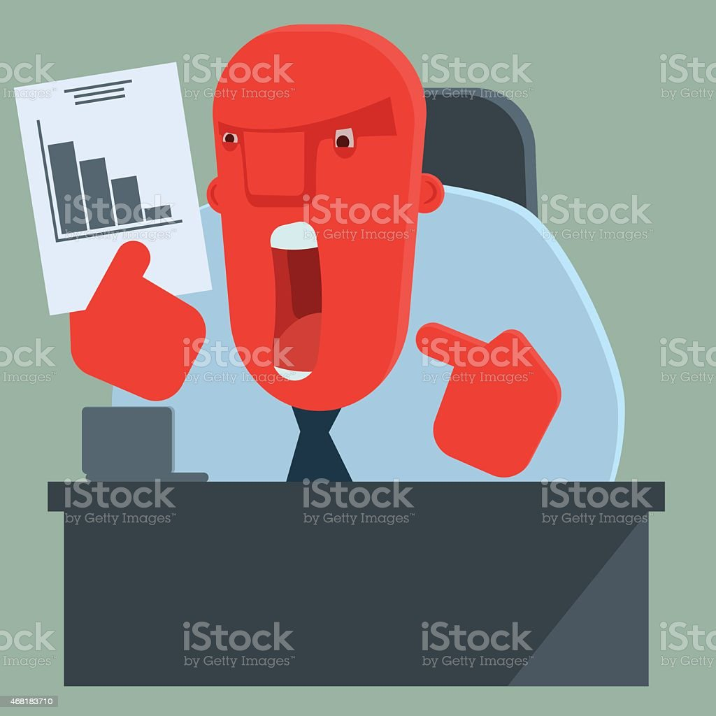 Angry boss is dissatisfied with results vector art illustration