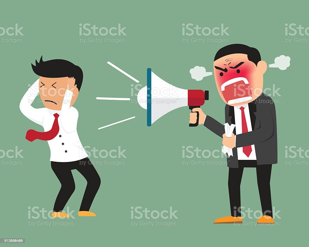 Angry boss shouting at employee on megaphone vector illustration vector art illustration