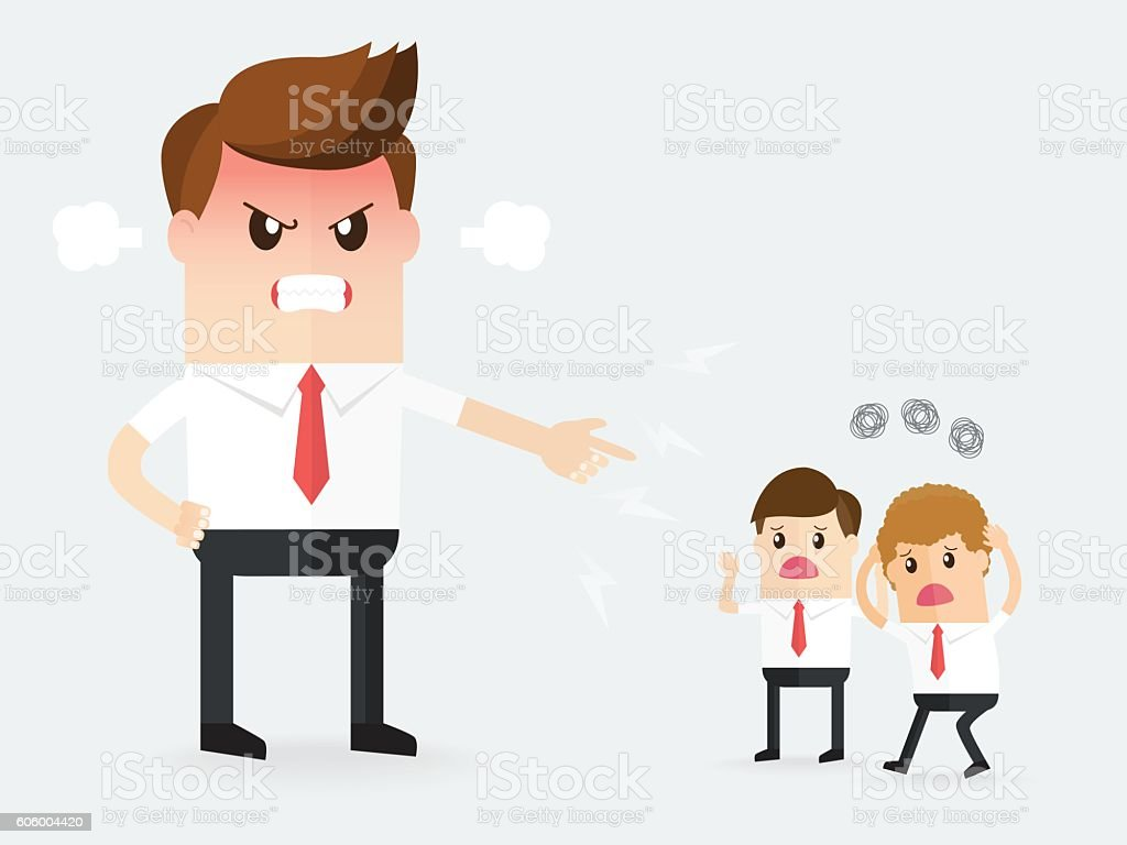 angry boss upset to employees, vector art illustration